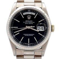 Rolex Day-Date 36 Or blanc 36mm Noir Sans chiffres
