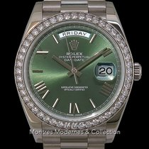 Rolex Day-Date 40 Or blanc 40mm Vert Romains France, Paris