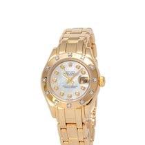 Rolex Lady-Datejust Pearlmaster Ouro amarelo 29mm Madrepérola