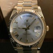 Rolex Day-Date 40 gebraucht 40mm Silber (massiv) Datum Gelbgold
