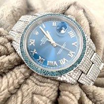 Rolex Datejust Stal 41mm Niebieski Rzymskie