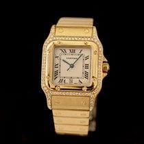 Cartier Желтое золото Кварцевые Белый Римские подержанные Santos Galbée
