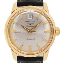 Longines Yellow gold Automatic Silver No numerals 35mm pre-owned Conquest Heritage