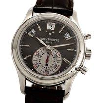 Patek Philippe Annual Calendar Chronograph gebraucht 40mm Grau Chronograph Datum Wochentagsanzeige Monatsanzeige Jahreskalender Leder