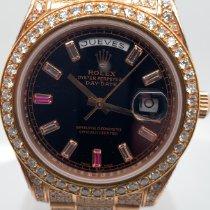 Rolex Day-Date II Oro rosa 43mm Negro Sin cifras
