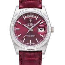 Rolex Day-Date 36 Or blanc 36mm Rouge Sans chiffres