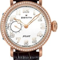 Zenith Pilot Type 20 Lady occasion 40mm Blanc Cuir de crocodile