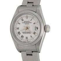 Rolex Oyster Perpetual Lady Date Сталь 25mm Белый Римские