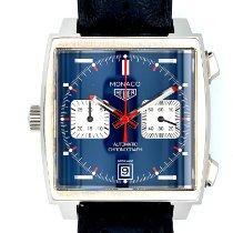 TAG Heuer Monaco Calibre 11 gebraucht 39mm Blau Chronograph Datum Leder