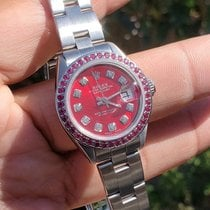 Rolex Oyster Perpetual Lady Date Steel 26mm Red No numerals