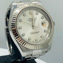 Rolex Or blanc Remontage automatique Argent Sans chiffres 41mm occasion Datejust II