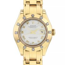 Rolex Lady-Datejust Pearlmaster Or jaune 29mm Nacre Romains