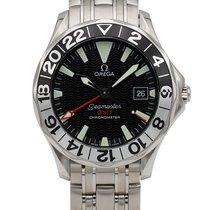 Omega Seamaster Diver 300 M gebraucht 41.5mm Schwarz Datum GMT/Zweite Zeitzone Stahl