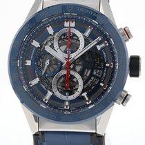 TAG Heuer Carrera Calibre HEUER 01 gebraucht 43mm Blau Chronograph Datum Kautschuk
