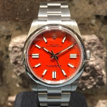 Rolex Oyster Perpetual Acero 41mm Rojo Sin cifras