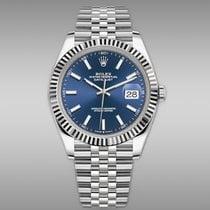 Rolex Or blanc Remontage automatique Bleu Sans chiffres 41mm nouveau Datejust