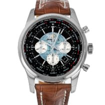Breitling Transocean Chronograph Unitime pre-owned 46mm Black Chronograph Date GMT Crocodile skin