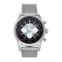 Breitling Transocean Chronograph Unitime pre-owned 46mm Black Chronograph Date GMT Fold clasp