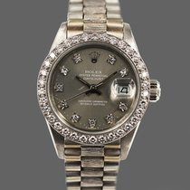 Rolex Or blanc Remontage automatique Gris Sans chiffres 26mm occasion Lady-Datejust