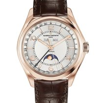 Vacheron Constantin Fiftysix pre-owned 40mm Silver Moon phase Date Crocodile skin