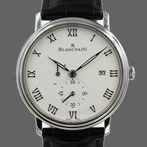 Blancpain Villeret Ultraflach gebraucht 40mm Weiß Datum Krokodilleder