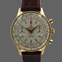 Breitling Gelbgold Handaufzug Silber 37mm gebraucht Chronomat