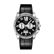 Cartier Calibre de Cartier Chronograph pre-owned 42mm Black Chronograph Date Fold clasp