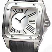 Cartier Weißgold Handaufzug Grau 42mm gebraucht Santos (submodel)