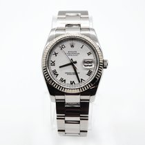 Rolex White gold Automatic White Roman numerals 36mm pre-owned Datejust