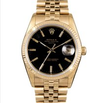 Rolex Oyster Perpetual Date Yellow gold 34mm Black No numerals