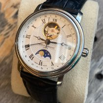 Frederique Constant Classics Moonphase pre-owned 40mm Silver Moon phase Date Leather