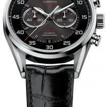 TAG Heuer Carrera Calibre 36 pre-owned 43mm Black Chronograph Flyback Date Crocodile skin
