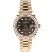 Rolex Rose gold Automatic Brown Roman numerals 28mm new Lady-Datejust