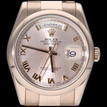 Rolex Or rose Remontage automatique Rose Romains 36mm occasion Day-Date 36