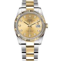 Rolex Datejust Gold/Steel 36mm Champagne No numerals