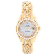 Rolex Lady-Datejust Pearlmaster Желтое золото 29mm Перламутровый Без цифр