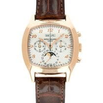 Patek Philippe Red gold Manual winding Silver 37mm pre-owned Perpetual Calendar Chronograph