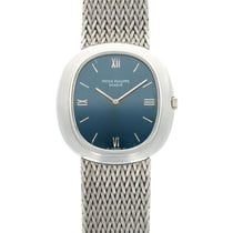 Patek Philippe White gold Automatic Blue 33mm pre-owned Golden Ellipse