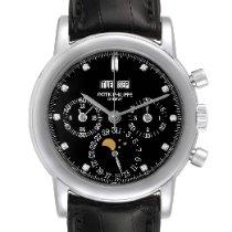 Patek Philippe Platinum Manual winding Black 36mm pre-owned Perpetual Calendar Chronograph