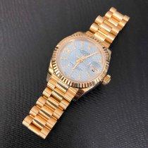 Rolex Lady-Datejust Желтое золото 28mm Синий Без цифр