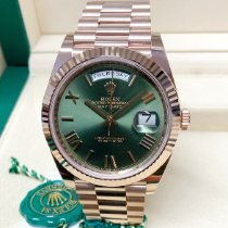 Rolex Day-Date 40 Rose gold 40mm Green Roman numerals United Kingdom, Wilmslow