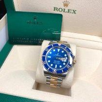 Rolex Submariner Date Gold/Stahl 41mm Blau Keine Ziffern