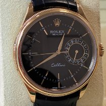 Rolex Cellini Date Roséguld 39mm Svart Inga siffror