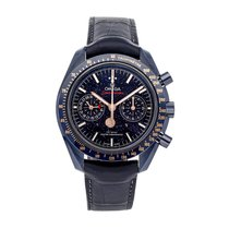 Omega Speedmaster Professional Moonwatch Moonphase pre-owned 44.2mm Blue Moon phase Chronograph Date Tachymeter Crocodile skin