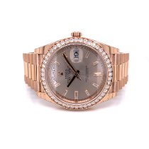 Rolex Day-Date 40 Rose gold 40mm Green Roman numerals United States of America, California, Beverly Hills