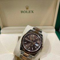 Rolex Datejust II Or/Acier 41mm Brun Sans chiffres