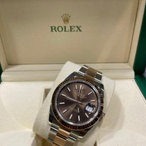 Rolex Datejust II occasion 41mm Brun Date Or/Acier