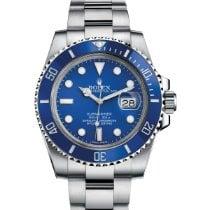 Rolex Submariner Date Bílé zlato 40mm Modrá Bez čísel