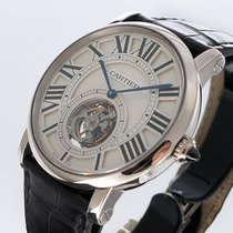 Cartier White gold Manual winding Silver 40mm pre-owned Rotonde de Cartier