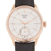 Rolex Cellini Dual Time Aur roz 39mm Alb Fara cifre